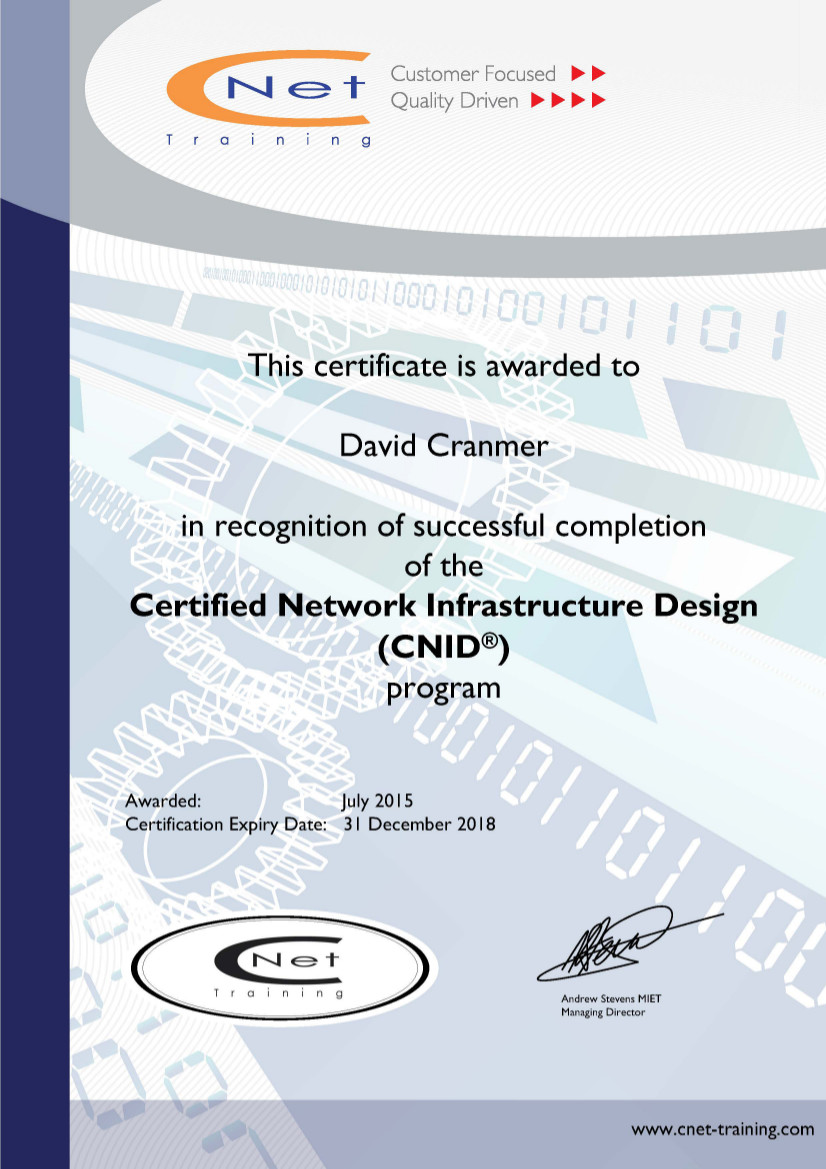 Certified Network Infrastructure Design Cnid Ventoux Learning